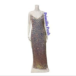 NWT ADRIANNA PAPELL BEADED SLIM COLUMN GOWN Shell